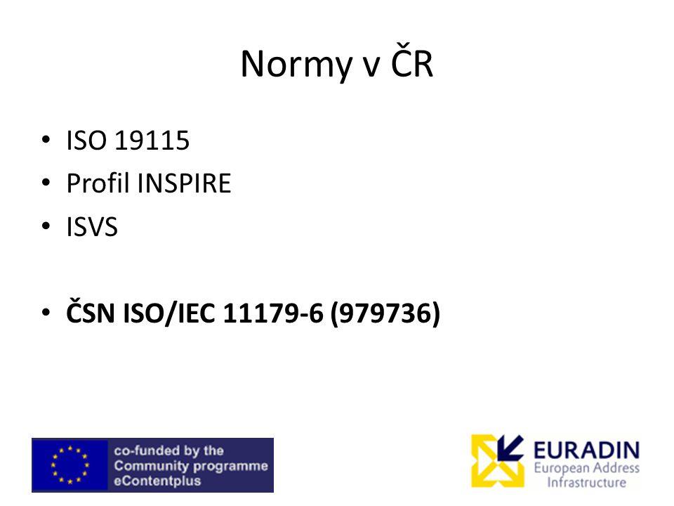 Normy v ČR ISO 19115 Profil INSPIRE ISVS ČSN ISO/IEC 11179-6 (979736)