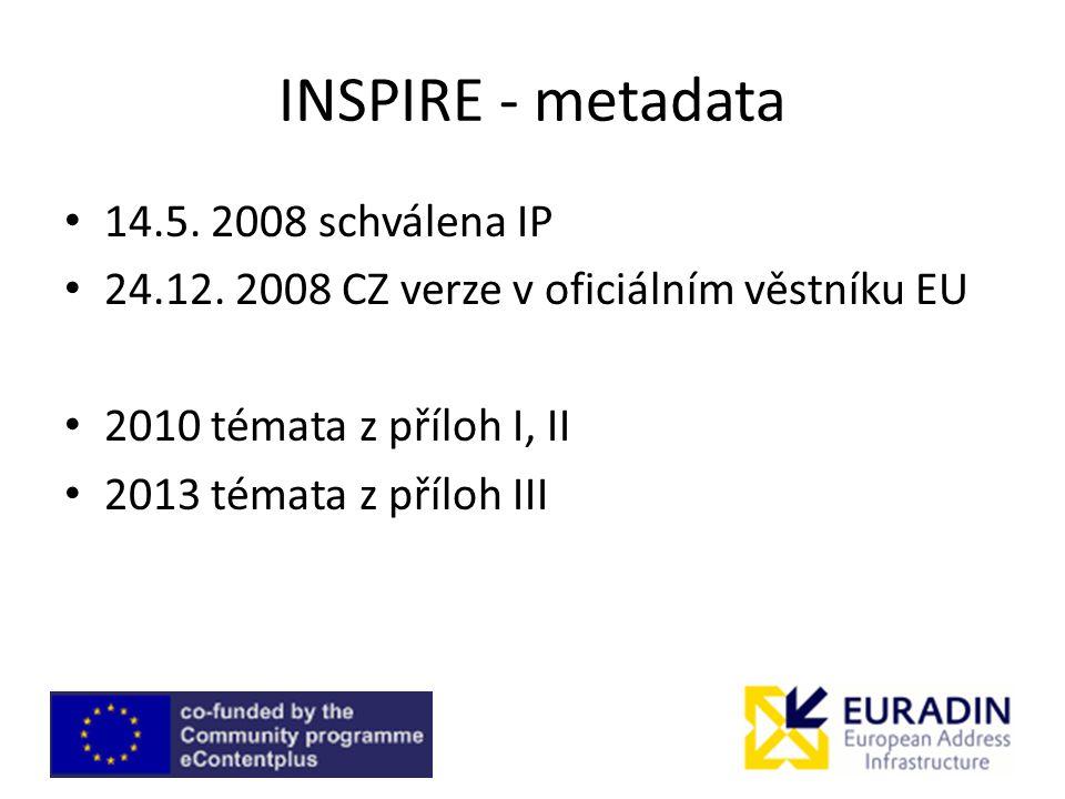 INSPIRE - metadata 14.5. 2008 schválena IP 24.12.