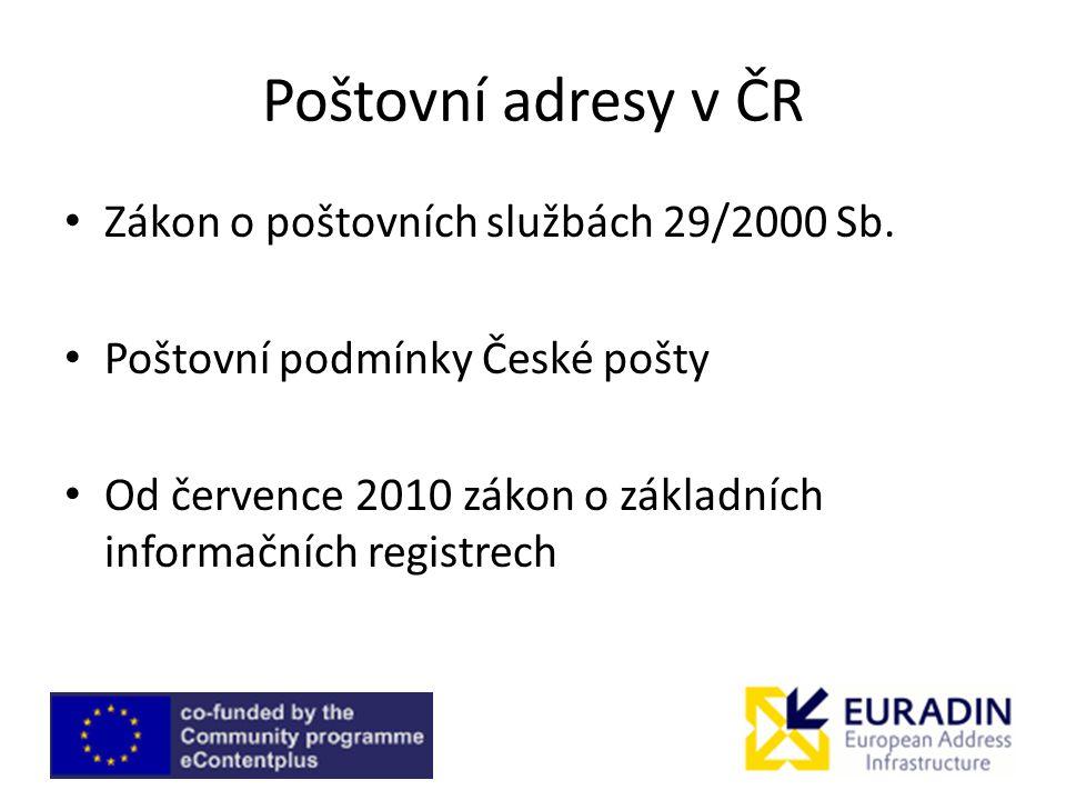 Poštovní adresy v ČR Zákon o poštovních službách 29/2000 Sb.