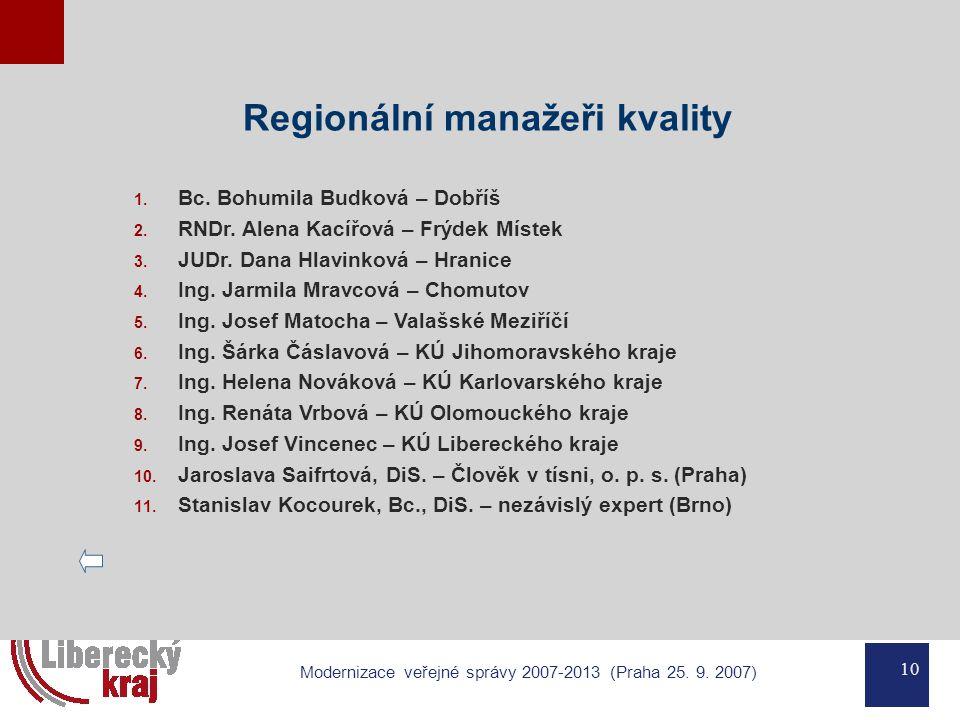 10 Modernizace veřejné správy 2007-2013 (Praha 25. 9. 2007) Regionální manažeři kvality 1. Bc. Bohumila Budková – Dobříš 2. RNDr. Alena Kacířová – Frý