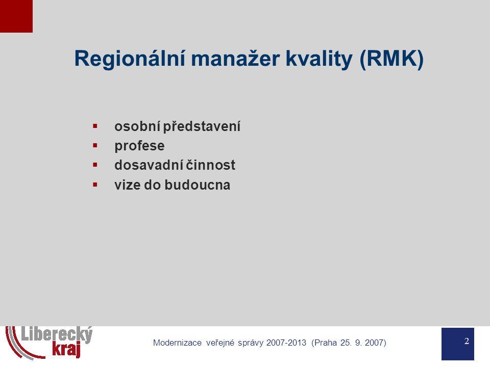 2 Modernizace veřejné správy 2007-2013 (Praha 25. 9. 2007) Regionální manažer kvality (RMK)  osobní představení  profese  dosavadní činnost  vize