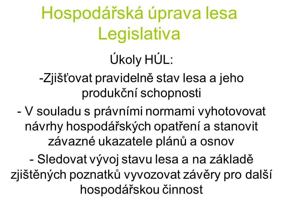 Hospodářská úprava lesa Legislativa Úkoly HÚL: -Zjišťovat pravidelně stav lesa a jeho produkční schopnosti - V souladu s právními normami vyhotovovat