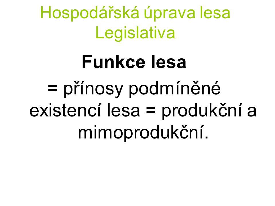 Hospodářská úprava lesa Legislativa Funkce lesa = přínosy podmíněné existencí lesa = produkční a mimoprodukční.