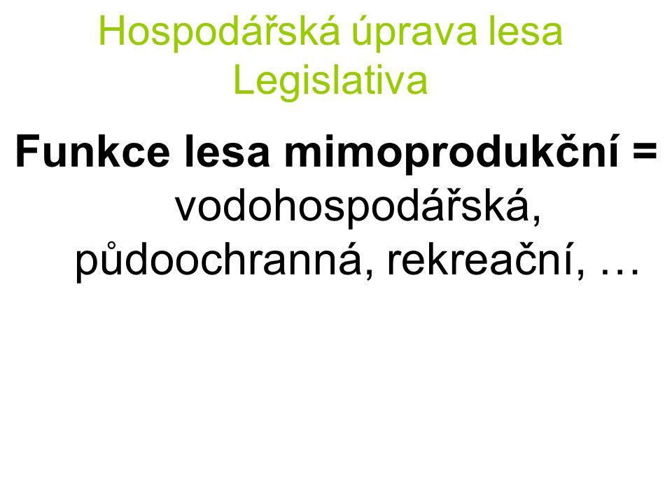 Hospodářská úprava lesa Legislativa Funkce lesa mimoprodukční = vodohospodářská, půdoochranná, rekreační, …