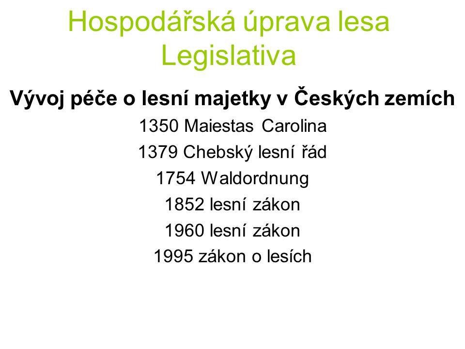 Hospodářská úprava lesa Legislativa Vývoj péče o lesní majetky v Českých zemích 1350 Maiestas Carolina 1379 Chebský lesní řád 1754 Waldordnung 1852 le