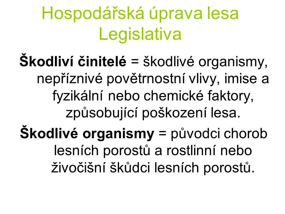 Hospodářská úprava lesa Legislativa Škodliví činitelé = škodlivé organismy, nepříznivé povětrnostní vlivy, imise a fyzikální nebo chemické faktory, zp
