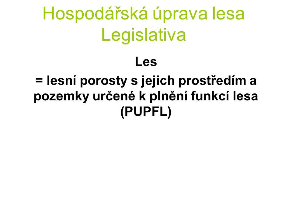 Hospodářská úprava lesa Legislativa Les = lesní porosty s jejich prostředím a pozemky určené k plnění funkcí lesa (PUPFL)