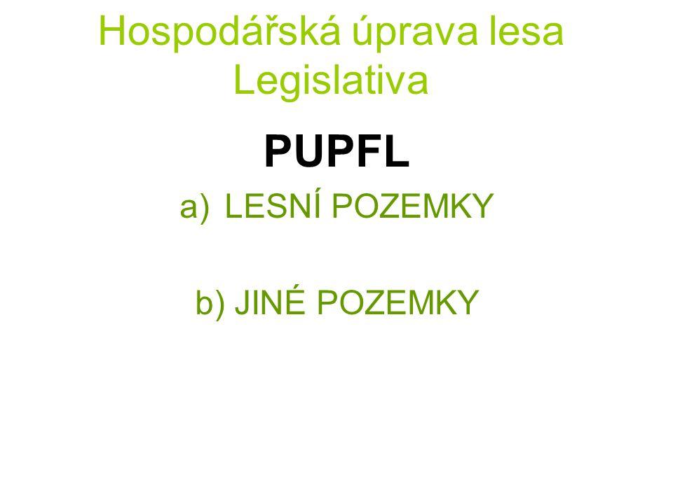 Hospodářská úprava lesa Legislativa PUPFL a)LESNÍ POZEMKY b) JINÉ POZEMKY
