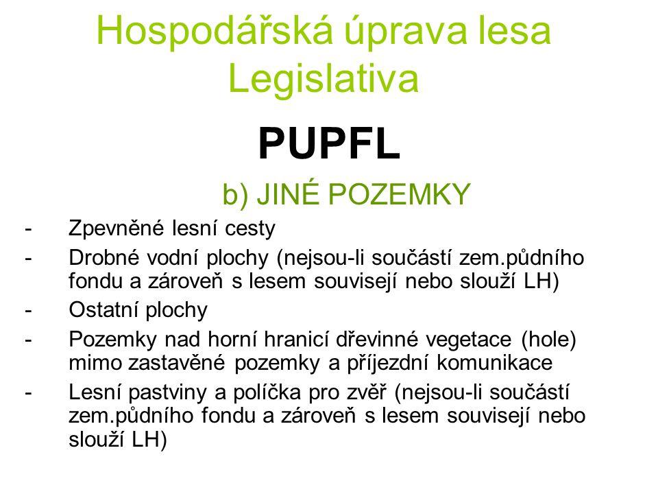 Hospodářská úprava lesa Legislativa PUPFL b) JINÉ POZEMKY -Zpevněné lesní cesty -Drobné vodní plochy (nejsou-li součástí zem.půdního fondu a zároveň s