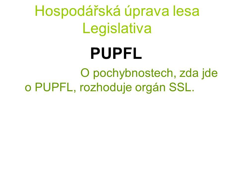 Hospodářská úprava lesa Legislativa PUPFL O pochybnostech, zda jde o PUPFL, rozhoduje orgán SSL.