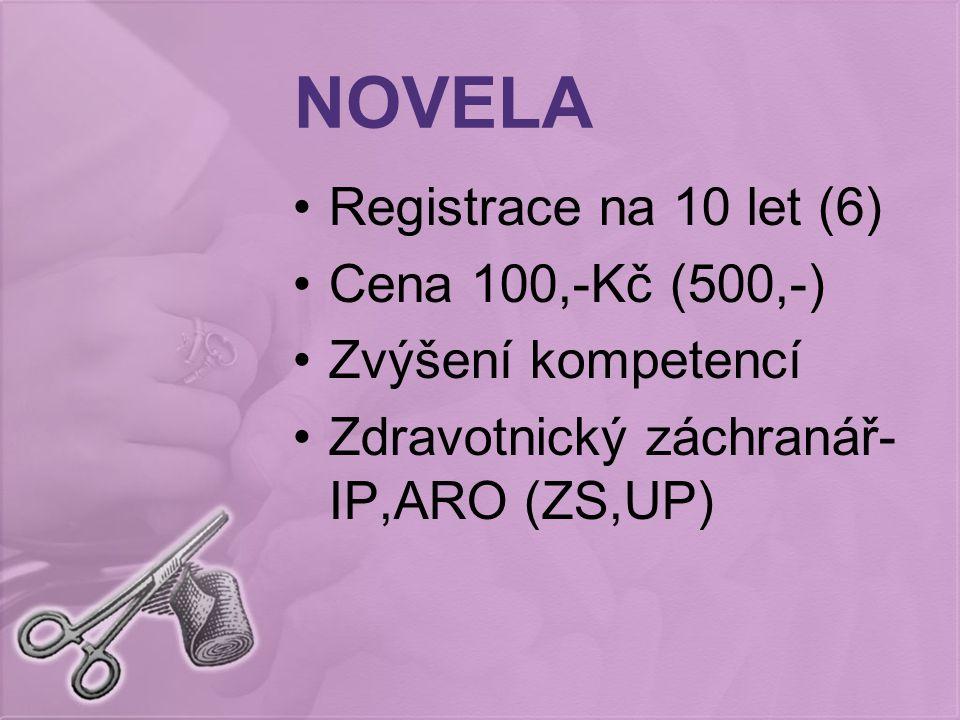 NOVELA Registrace na 10 let (6) Cena 100,-Kč (500,-) Zvýšení kompetencí Zdravotnický záchranář- IP,ARO (ZS,UP)