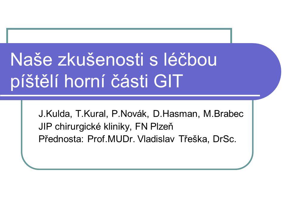 Naše zkušenosti s léčbou píštělí horní části GIT J.Kulda, T.Kural, P.Novák, D.Hasman, M.Brabec JIP chirurgické kliniky, FN Plzeň Přednosta: Prof.MUDr.