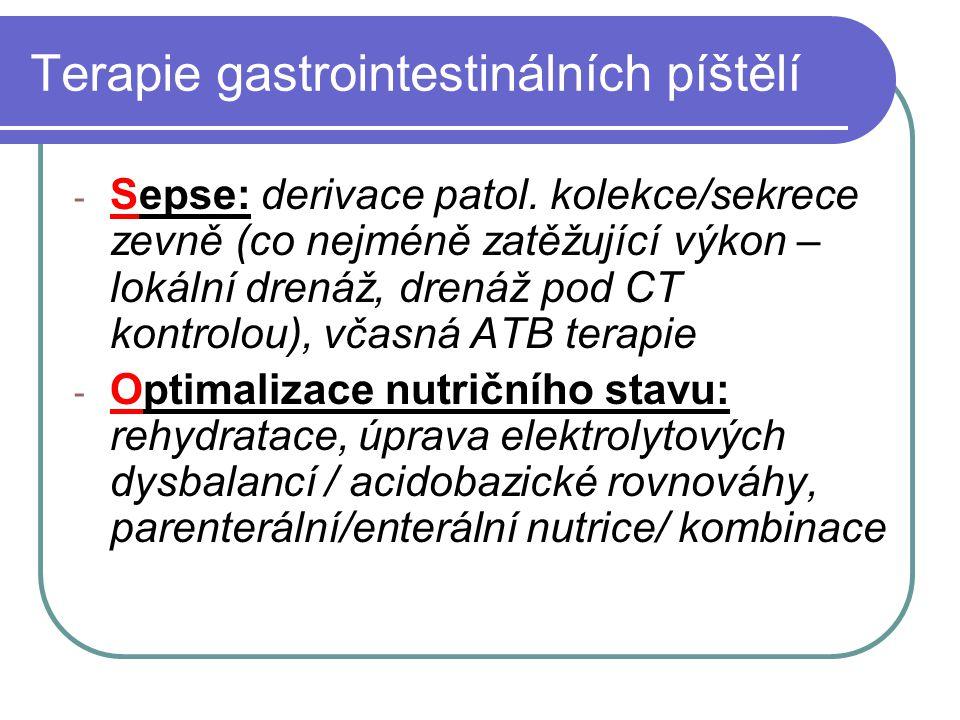 Terapie gastrointestinálních píštělí - Sepse: derivace patol. kolekce/sekrece zevně (co nejméně zatěžující výkon – lokální drenáž, drenáž pod CT kontr