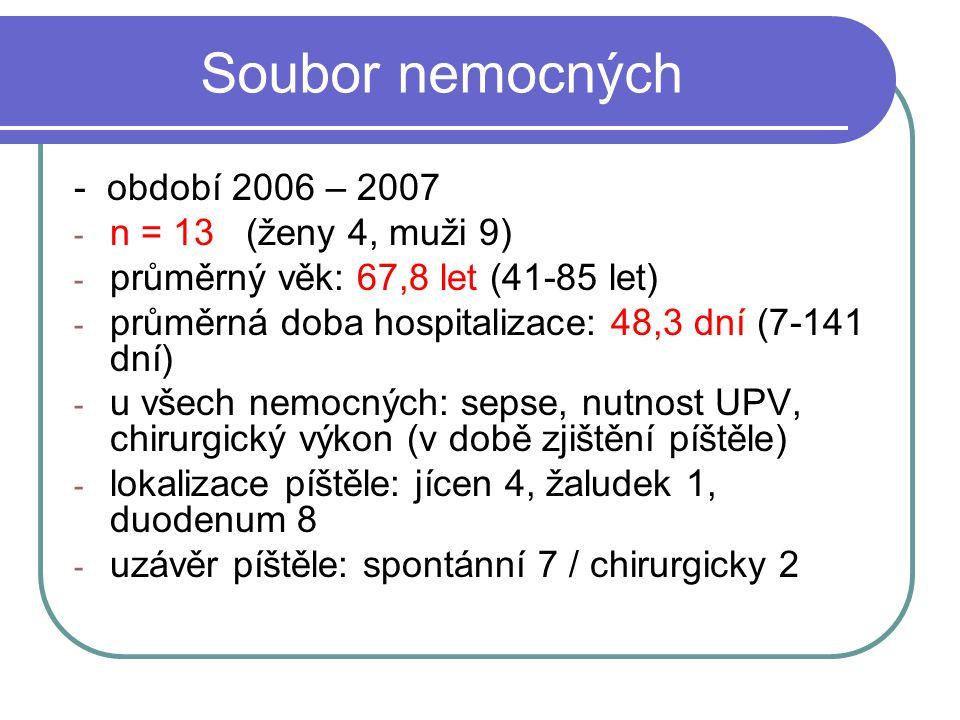 Soubor nemocných - období 2006 – 2007 - n = 13 (ženy 4, muži 9) - průměrný věk: 67,8 let (41-85 let) - průměrná doba hospitalizace: 48,3 dní (7-141 dn