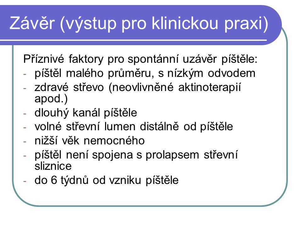 Závěr (výstup pro klinickou praxi) Příznivé faktory pro spontánní uzávěr píštěle: - píštěl malého průměru, s nízkým odvodem - zdravé střevo (neovlivně