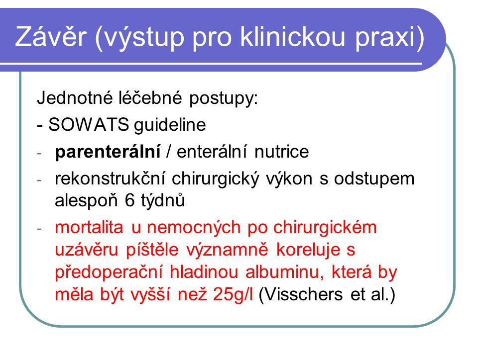 Závěr (výstup pro klinickou praxi) Jednotné léčebné postupy: - SOWATS guideline - parenterální / enterální nutrice - rekonstrukční chirurgický výkon s