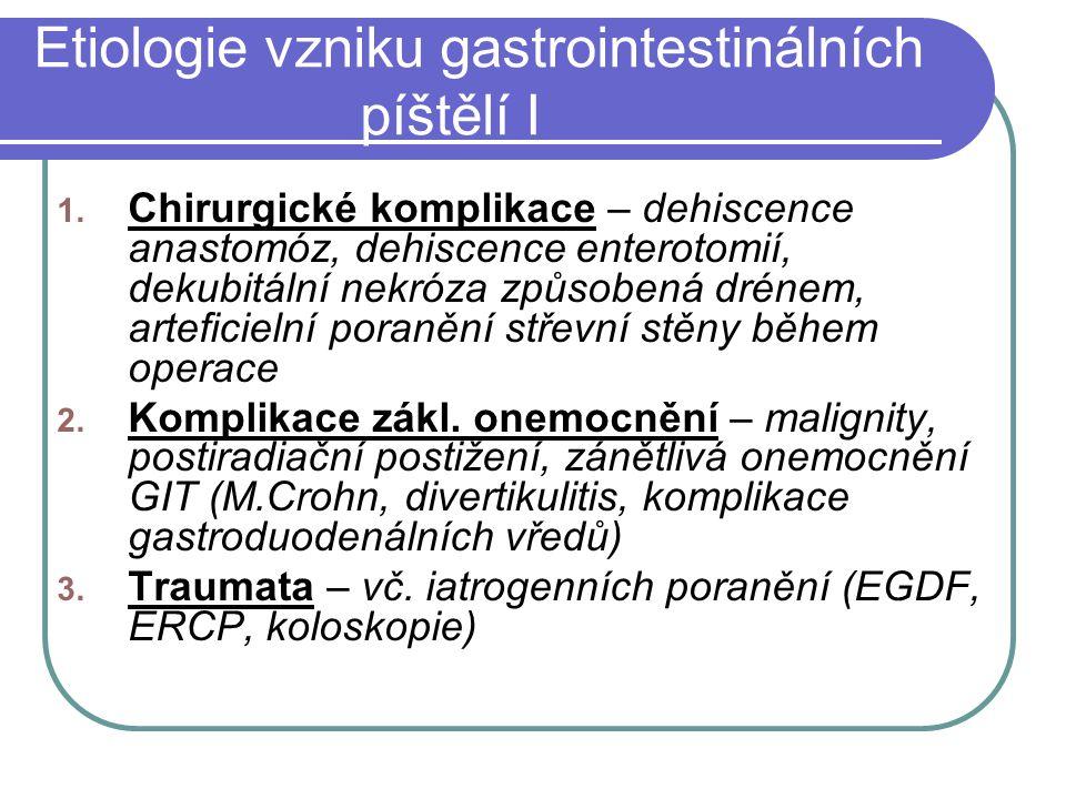 Soubor nemocných (rozdělení podle velikosti odvodu píštěle) N = 13 píštěle s nízkým odvodem < 500 ml/24 hod (9) píštěle s vysokým odvodem > 500 ml/24 hod (4)