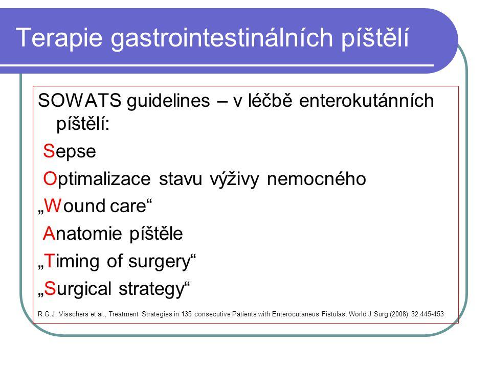 """Terapie gastrointestinálních píštělí SOWATS guidelines – v léčbě enterokutánních píštělí: Sepse Optimalizace stavu výživy nemocného """"Wound care"""" Anato"""