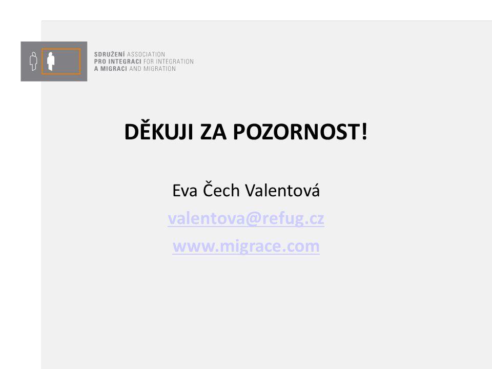 DĚKUJI ZA POZORNOST! Eva Čech Valentová valentova@refug.cz www.migrace.com