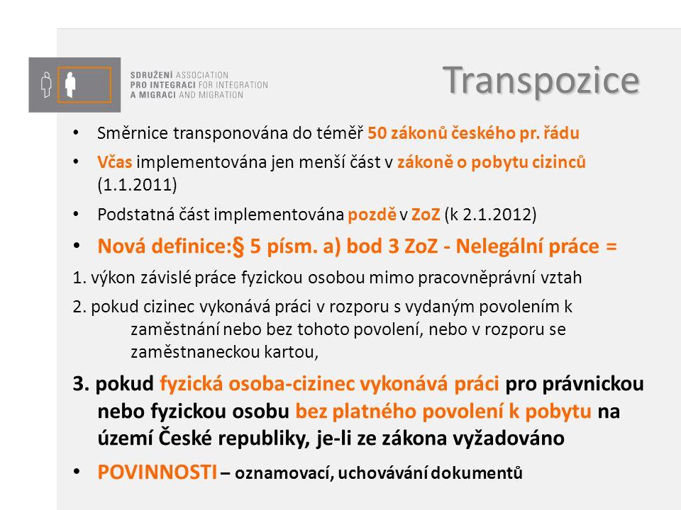 Transpozice Směrnice transponována do téměř 50 zákonů českého pr. řádu Včas implementována jen menší část v zákoně o pobytu cizinců (1.1.2011) Podstat