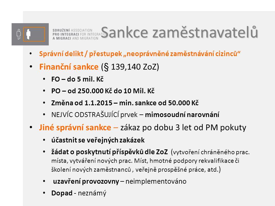 """Sankce zaměstnavatelů Správní delikt / přestupek """"neoprávněné zaměstnávání cizinců"""" Finanční sankce (§ 139,140 ZoZ) FO – do 5 mil. Kč PO – od 250.000"""