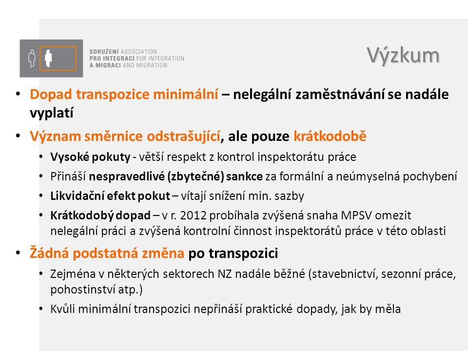 Výzkum Dopad transpozice minimální – nelegální zaměstnávání se nadále vyplatí Význam směrnice odstrašující, ale pouze krátkodobě Vysoké pokuty - větší