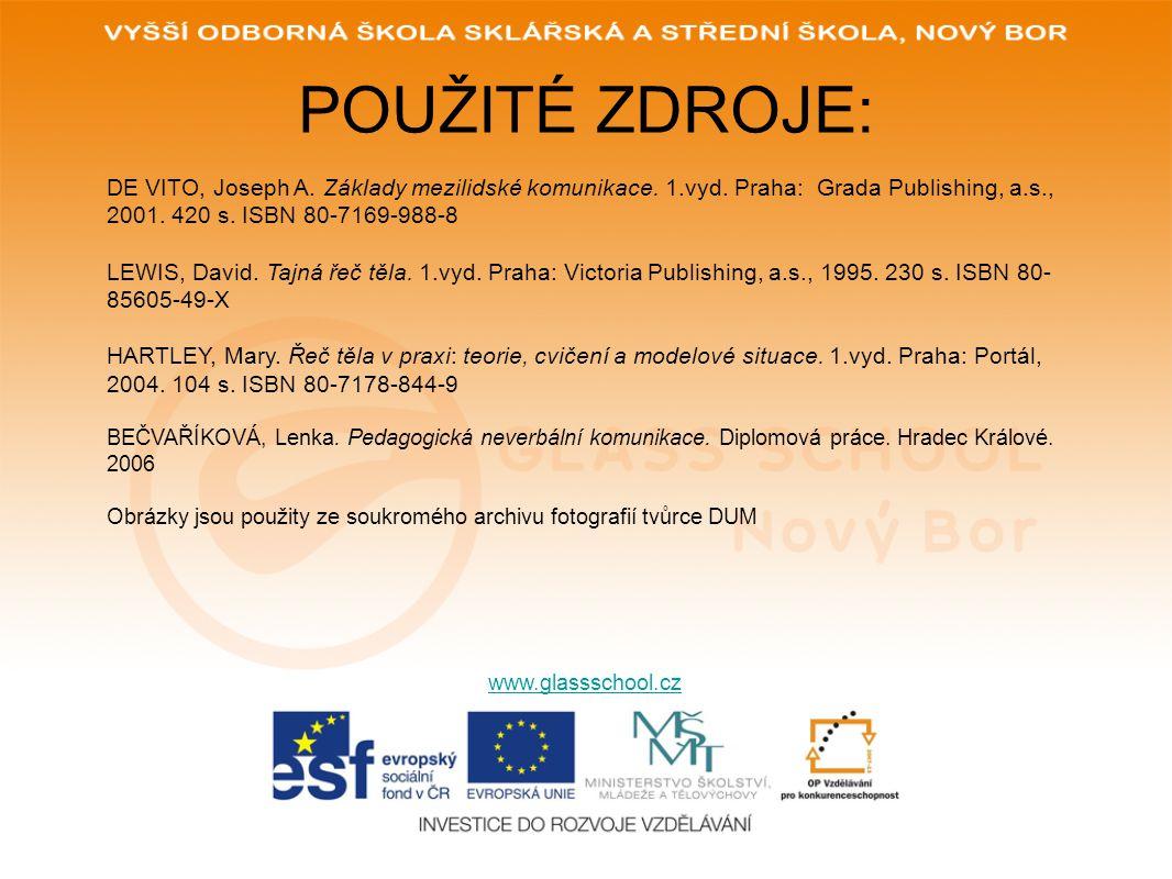 POUŽITÉ ZDROJE: www.glassschool.cz DE VITO, Joseph A. Základy mezilidské komunikace. 1.vyd. Praha: Grada Publishing, a.s., 2001. 420 s. ISBN 80-7169-9