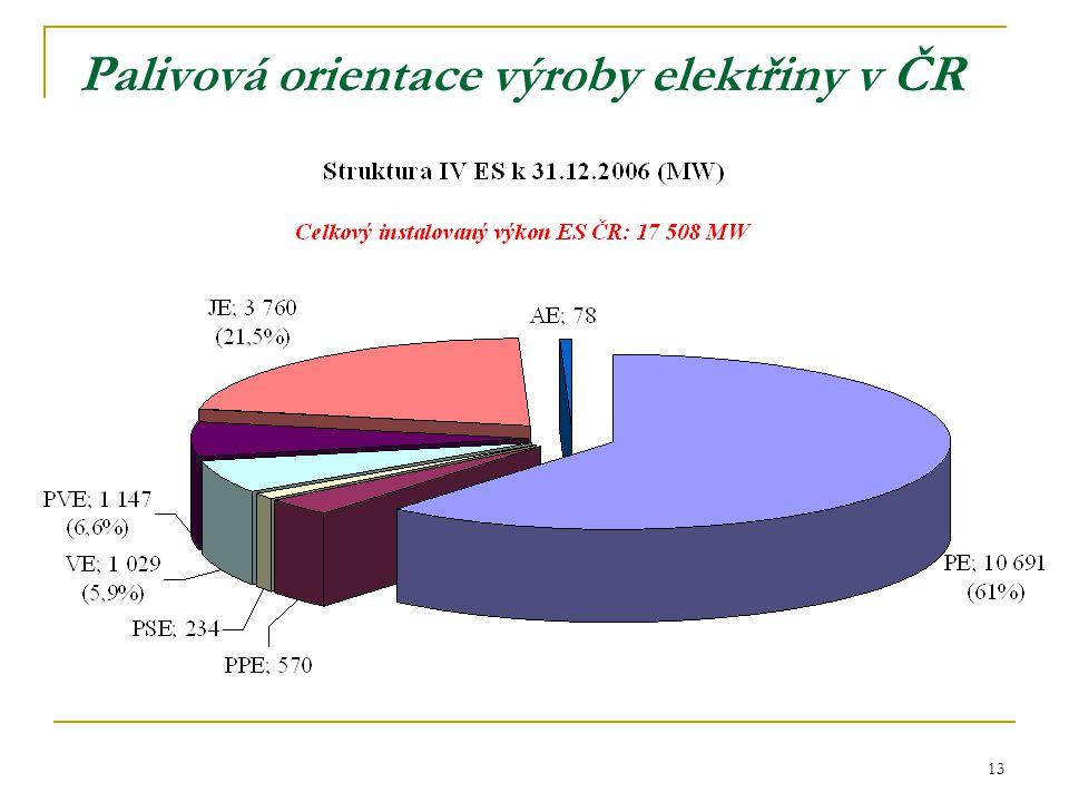 13 Palivová orientace výroby elektřiny v ČR