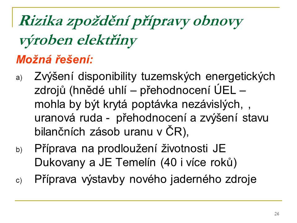 26 Rizika zpoždění přípravy obnovy výroben elektřiny Možná řešení: a) Zvýšení disponibility tuzemských energetických zdrojů (hnědé uhlí – přehodnocení