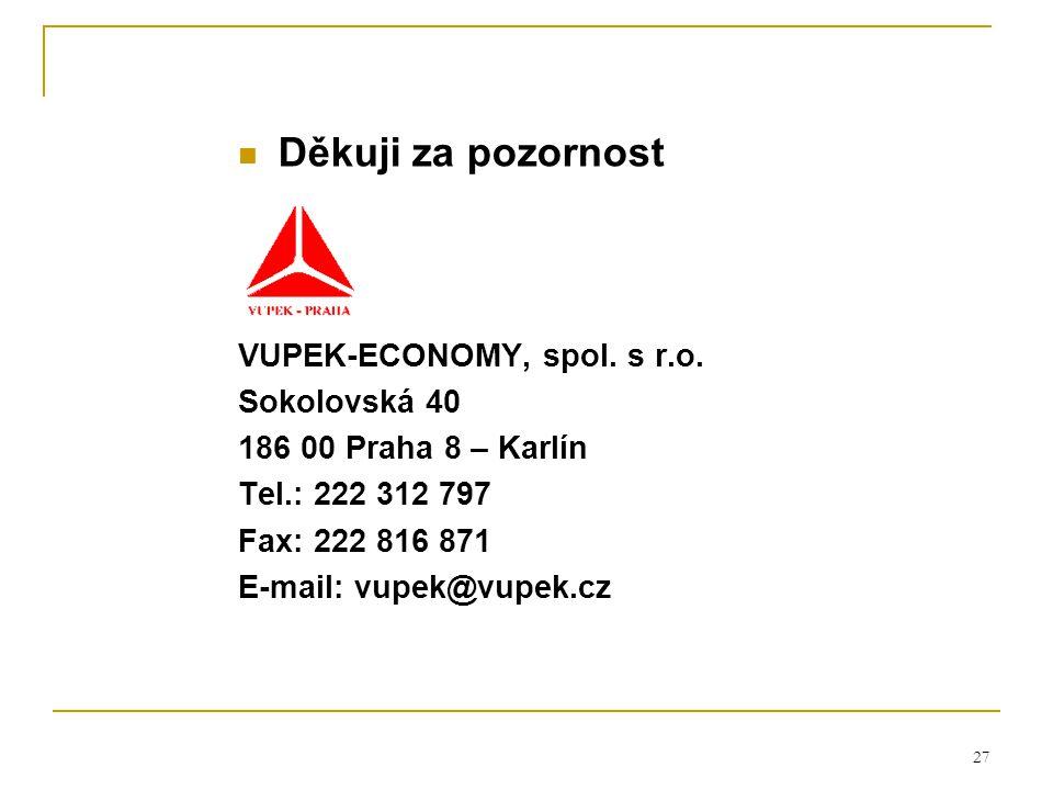 27 Děkuji za pozornost VUPEK-ECONOMY, spol. s r.o. Sokolovská 40 186 00 Praha 8 – Karlín Tel.: 222 312 797 Fax: 222 816 871 E-mail: vupek@vupek.cz