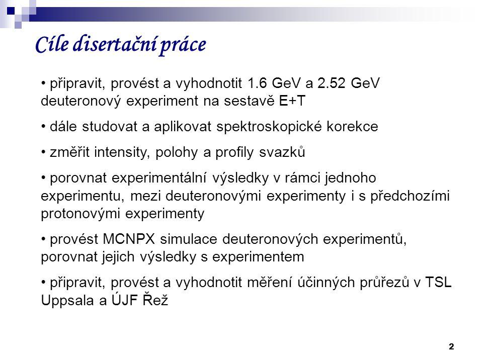 2 Cíle disertační práce připravit, provést a vyhodnotit 1.6 GeV a 2.52 GeV deuteronový experiment na sestavě E+T dále studovat a aplikovat spektroskop