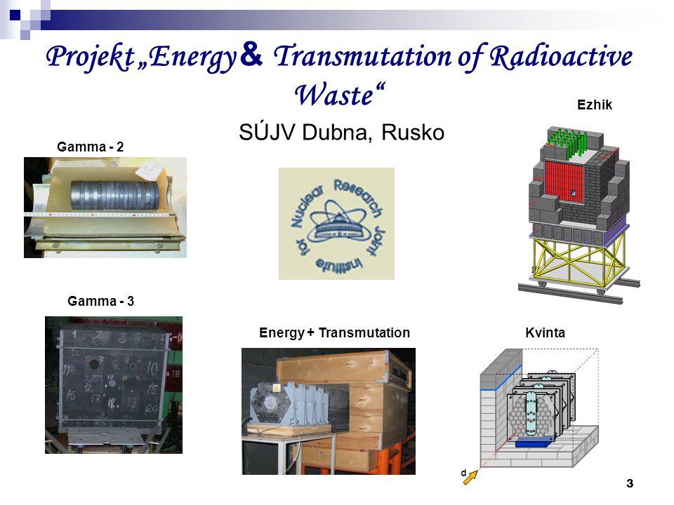 """3 Projekt """"Energy & Transmutation of Radioactive Waste"""" SÚJV Dubna, Rusko Gamma - 2 Gamma - 3 Energy + TransmutationKvinta Ezhik"""