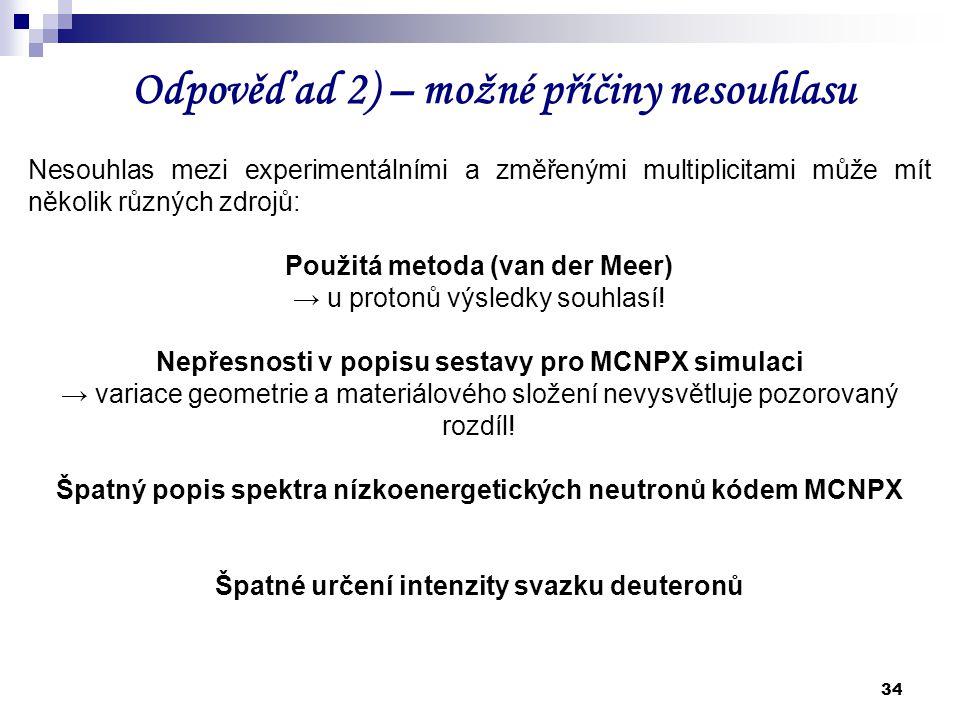 34 Odpověď ad 2) – možné příčiny nesouhlasu Nesouhlas mezi experimentálními a změřenými multiplicitami může mít několik různých zdrojů: Použitá metoda