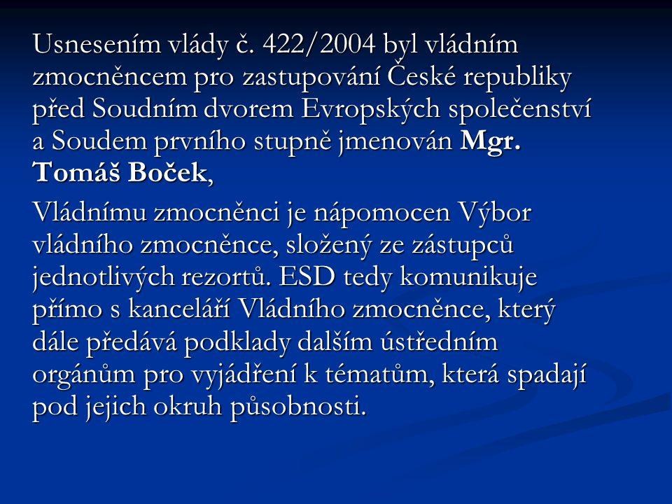 Usnesením vlády č. 422/2004 byl vládním zmocněncem pro zastupování České republiky před Soudním dvorem Evropských společenství a Soudem prvního stupně
