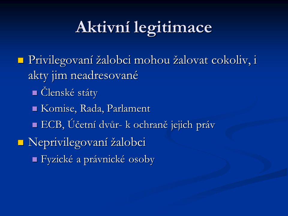 Aktivní i pasivní legitimace Zaměstnanci ES, Zaměstnanci ES, dočasní zaměstnanci, dočasní zaměstnanci, účastníci výběrového řízení, účastníci výběrového řízení, bývalí zaměstnanci bývalí zaměstnanci Zaměstnavatelé: Orgány společenství, ECB, EIB Zaměstnavatelé: Orgány společenství, ECB, EIB