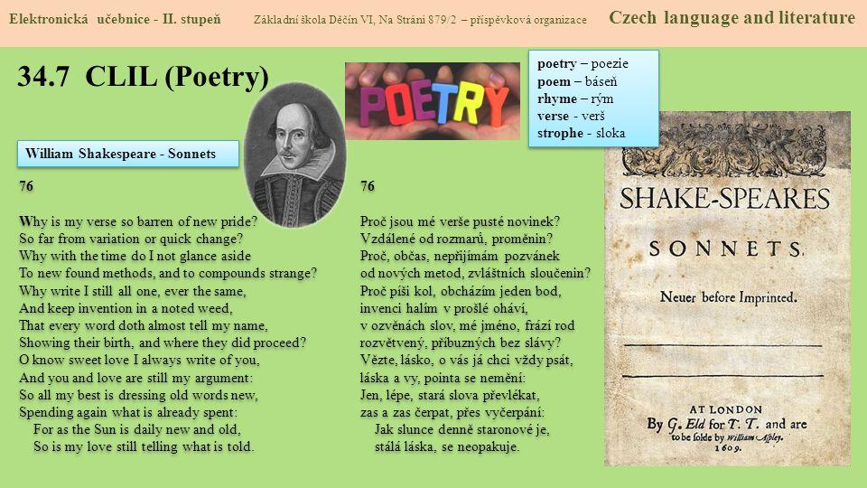34.7 CLIL (Poetry) Elektronická učebnice - II.