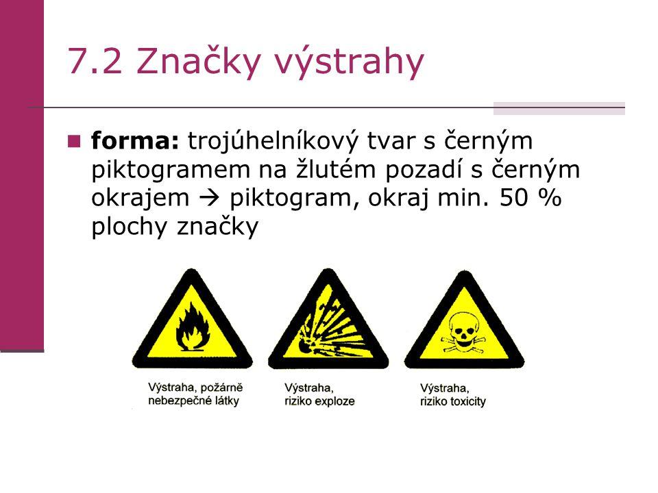7.2 Značky výstrahy forma: trojúhelníkový tvar s černým piktogramem na žlutém pozadí s černým okrajem  piktogram, okraj min. 50 % plochy značky