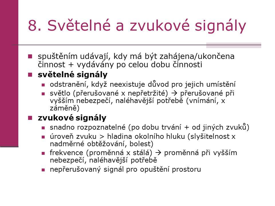 8. Světelné a zvukové signály spuštěním udávají, kdy má být zahájena/ukončena činnost + vydávány po celou dobu činnosti světelné signály odstranění, k