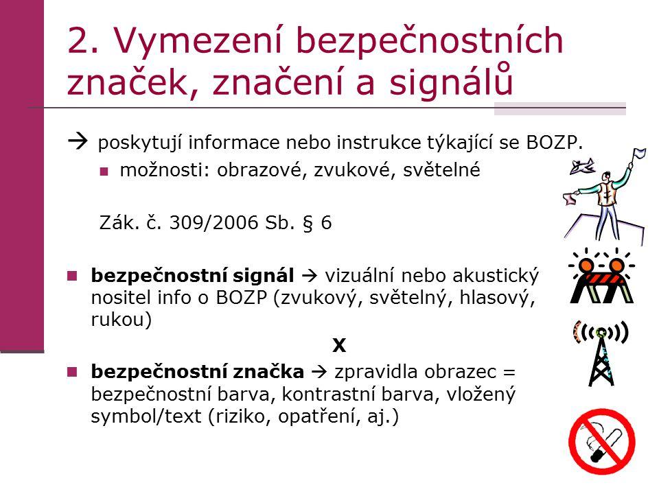 2. Vymezení bezpečnostních značek, značení a signálů  poskytují informace nebo instrukce týkající se BOZP. možnosti: obrazové, zvukové, světelné Zák.