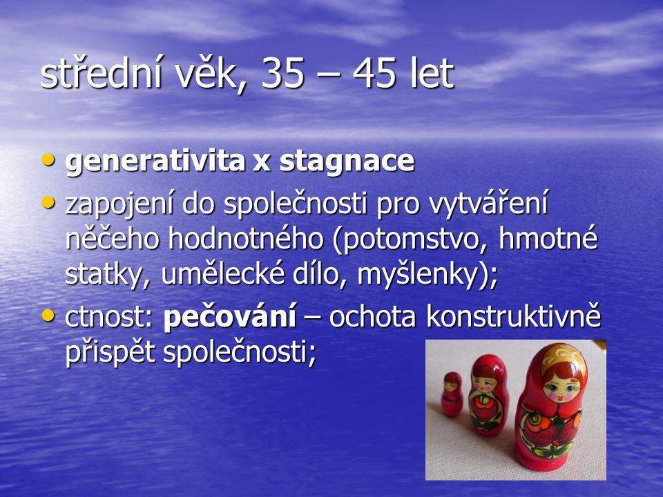 střední věk, 35 – 45 let generativita x stagnace generativita x stagnace zapojení do společnosti pro vytváření něčeho hodnotného (potomstvo, hmotné statky, umělecké dílo, myšlenky); zapojení do společnosti pro vytváření něčeho hodnotného (potomstvo, hmotné statky, umělecké dílo, myšlenky); ctnost: pečování – ochota konstruktivně přispět společnosti; ctnost: pečování – ochota konstruktivně přispět společnosti;