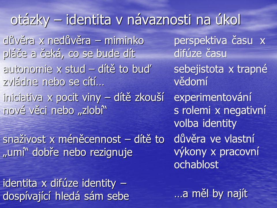 """otázky – identita v návaznosti na úkol důvěra x nedůvěra – miminko pláče a čeká, co se bude dít autonomie x stud – dítě to buď zvládne nebo se cítí… iniciativa x pocit viny – dítě zkouší nové věci nebo """"zlobí snaživost x méněcennost – dítě to """"umí dobře nebo rezignuje identita x difúze identity – dospívající hledá sám sebe perspektiva času x difúze času sebejistota x trapné vědomí experimentování s rolemi x negativní volba identity důvěra ve vlastní výkony x pracovní ochablost …a měl by najít"""