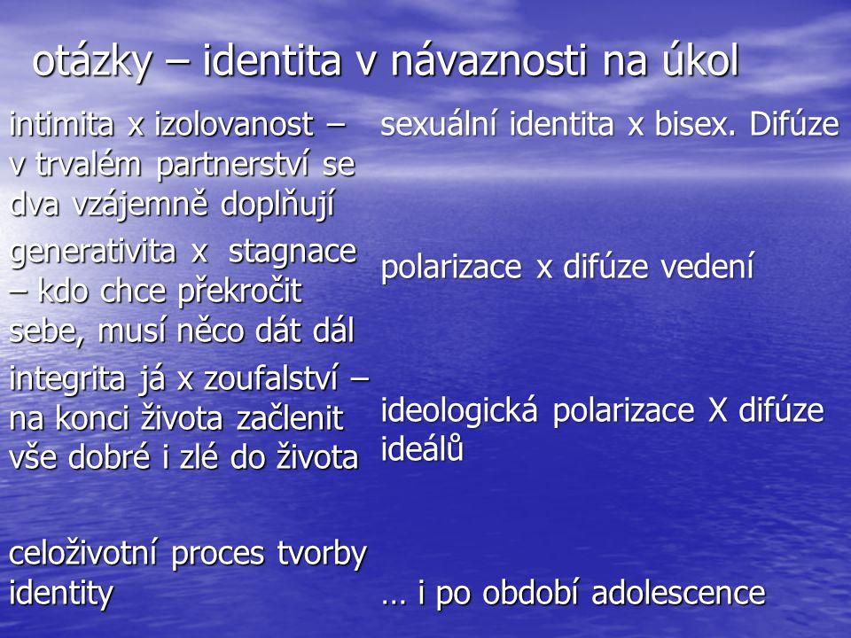 otázky – identita v návaznosti na úkol intimita x izolovanost – v trvalém partnerství se dva vzájemně doplňují generativita x stagnace – kdo chce překročit sebe, musí něco dát dál integrita já x zoufalství – na konci života začlenit vše dobré i zlé do života celoživotní proces tvorby identity sexuální identita x bisex.