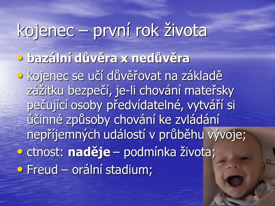 kojenec – první rok života bazální důvěra x nedůvěra bazální důvěra x nedůvěra kojenec se učí důvěřovat na základě zážitku bezpečí, je-li chování mateřsky pečující osoby předvídatelné, vytváří si účinné způsoby chování ke zvládání nepříjemných událostí v průběhu vývoje; kojenec se učí důvěřovat na základě zážitku bezpečí, je-li chování mateřsky pečující osoby předvídatelné, vytváří si účinné způsoby chování ke zvládání nepříjemných událostí v průběhu vývoje; ctnost: naděje – podmínka života; ctnost: naděje – podmínka života; Freud – orální stadium; Freud – orální stadium;