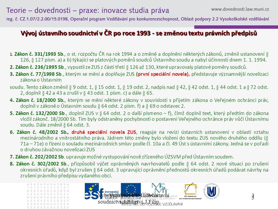 Vybr.problémy ÚP-Ústavní soudnictví, J.Filip 3 3 Vývoj ústavního soudnictví v ČR po roce 1993 - se změnou textu právních předpisů 1.