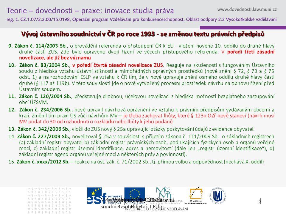 Vybr.problémy ÚP-Ústavní soudnictví, J.Filip 4 4 Vývoj ústavního soudnictví v ČR po roce 1993 - se změnou textu právních předpisů 9.
