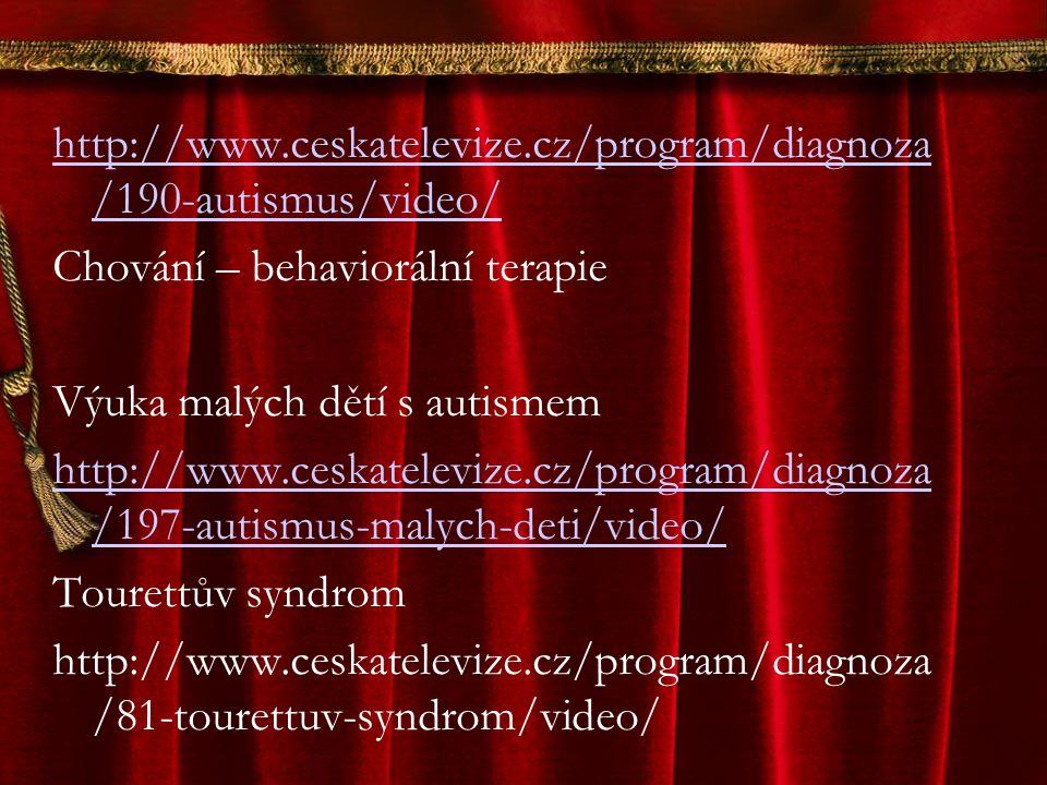 http://www.ceskatelevize.cz/program/diagnoza /190-autismus/video/ Chování – behaviorální terapie Výuka malých dětí s autismem http://www.ceskatelevize