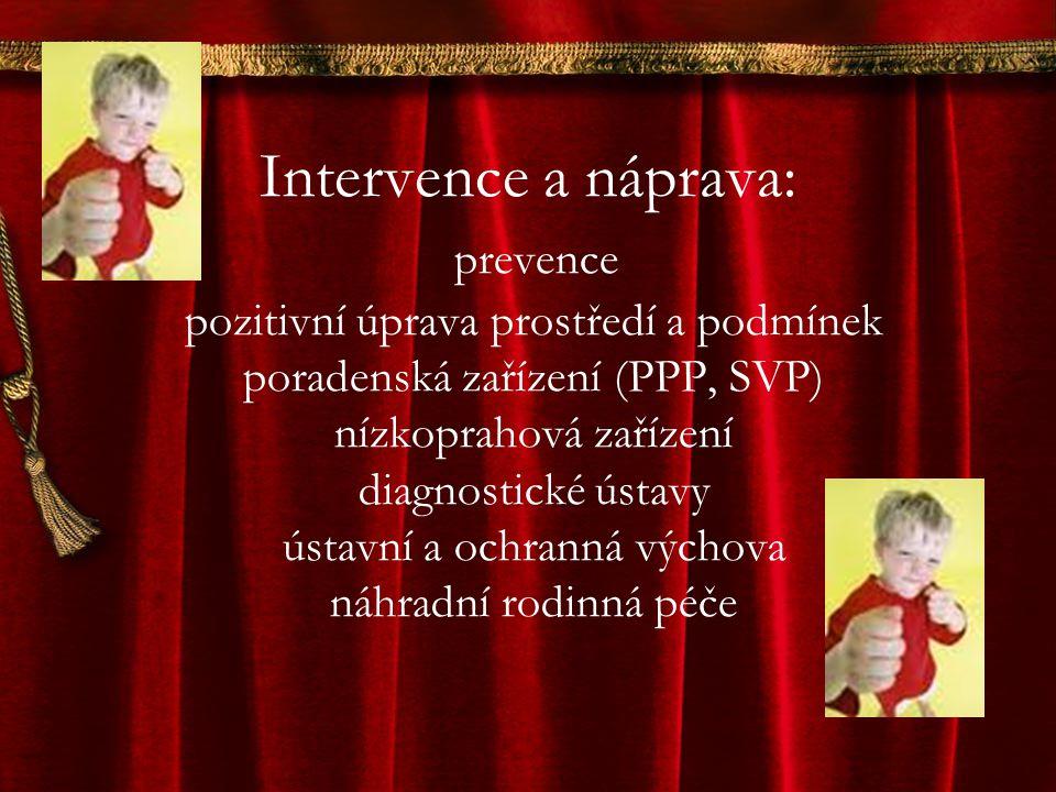 Intervence a náprava: prevence pozitivní úprava prostředí a podmínek poradenská zařízení (PPP, SVP) nízkoprahová zařízení diagnostické ústavy ústavní a ochranná výchova náhradní rodinná péče