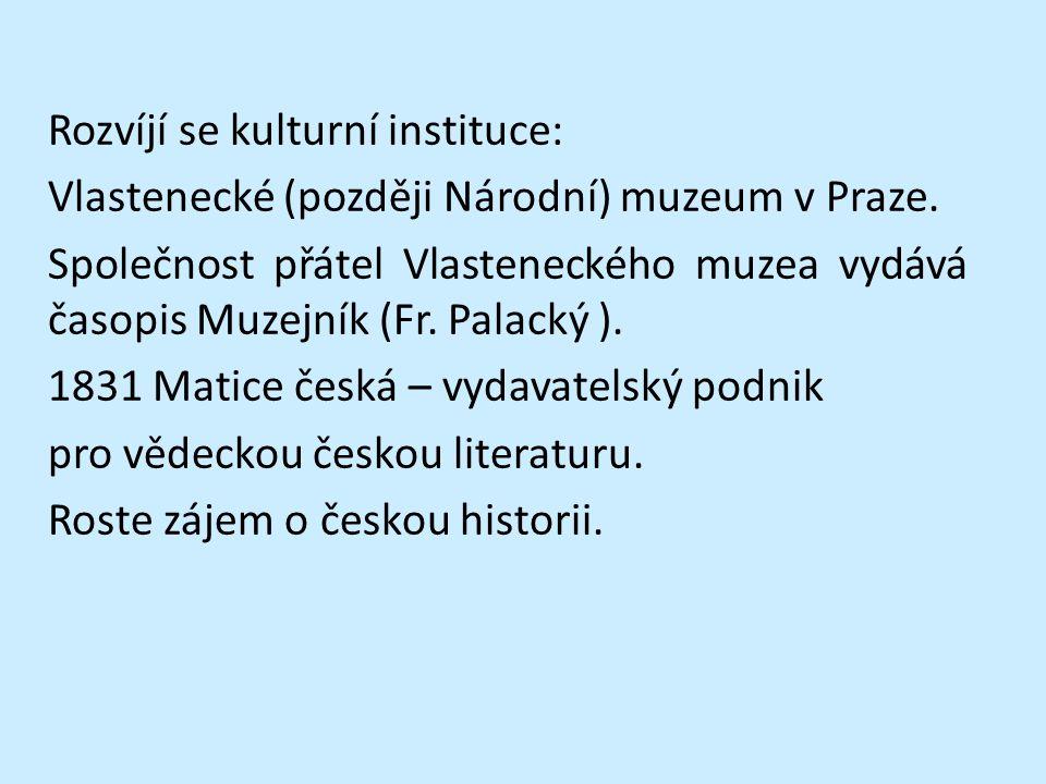 Rozvíjí se kulturní instituce: Vlastenecké (později Národní) muzeum v Praze.