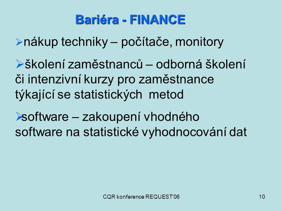 CQR konference REQUEST'0610 Bariéra - FINANCE  nákup techniky – počítače, monitory  školení zaměstnanců – odborná školení či intenzivní kurzy pro za