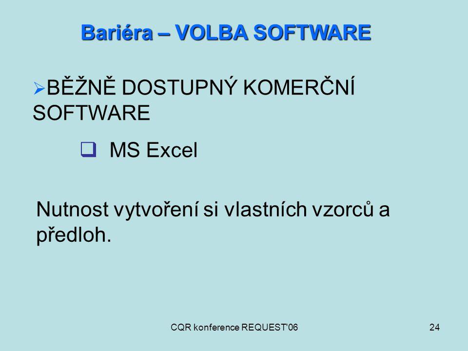 CQR konference REQUEST'0624 Bariéra – VOLBA SOFTWARE  BĚŽNĚ DOSTUPNÝ KOMERČNÍ SOFTWARE  MS Excel Nutnost vytvoření si vlastních vzorců a předloh.